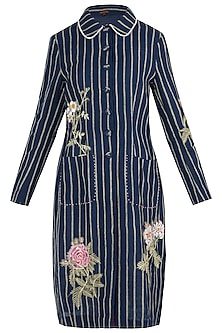 Navy Striped Embroidered Jacket