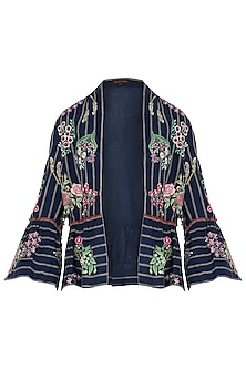 Navy Floral Embroidered Jacket