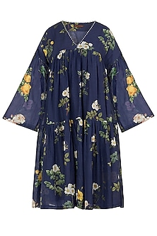 Navy Embroidered Printed Tunic