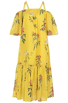 Yellow Embroidered Strappy Dress
