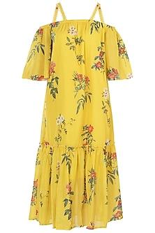 Yellow Embroidered Strappy Dress by Payal Pratap