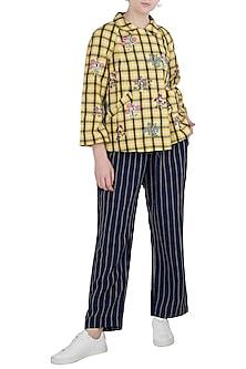 Yellow Embroidered Checks Jacket by Payal Pratap