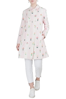 Pink Embroidered Checks Coat by Payal Pratap