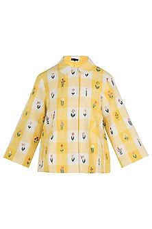 Yellow Embroidered Jacket by Payal Pratap