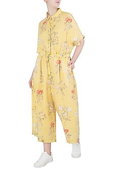 Yellow Printed Jumpsuit by Payal Pratap