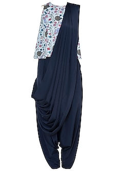 Mint & Navy Blue Printed Top With Pants & Attached Dupatta