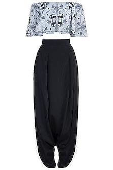 Grey & Black Printed Choli Top With Pants
