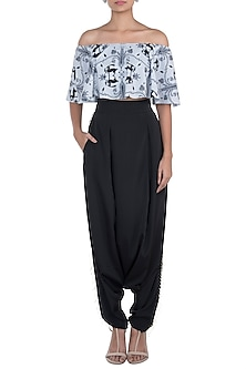 Grey & Black Printed Choli Top With Pants by Payal Singhal Pret