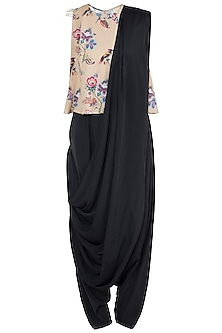 Mustard & Black Printed Top With Pants & Attached Dupatta by Payal Singhal Pret