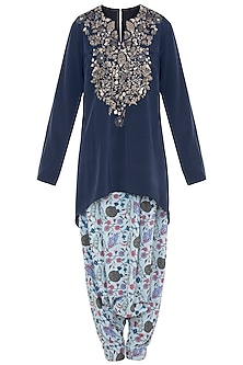 Mint & Navy Blue Printed Kurta Set