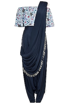 Mint & Navy Blue Printed Off Shoulder Top With Pants & Attached Dupatta
