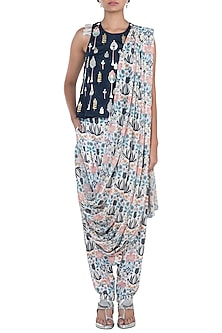 Navy Blue & Cream Embroidered Printed Top With Pants & Attached Dupatta by Payal Singhal Pret