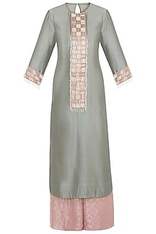 Mint Embroidered Kurta Set