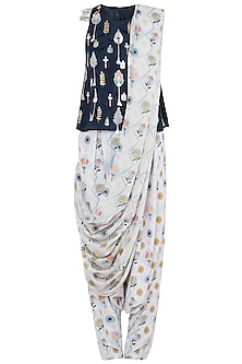 Navy Blue Embroidered Printed Sleeveless Top With Pants & Attached Dupatta