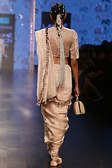 Nude Embroidered Saree Set by Payal Singhal