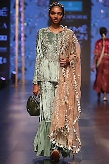 Mint Blue & Coral Embroidered Sharara Set by Payal Singhal
