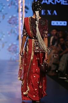 Purple & Cranberry Embroidered Sharara Set by Payal Singhal