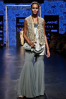 Periwinkle Blue Embroidered Jacket With Kurta & Sharara Pants by Payal Singhal