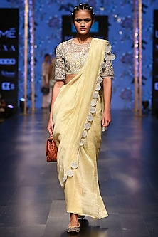 Pale Yellow Embroidered Saree Set by Payal Singhal