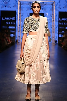 Black Embroidered Blouse With Nude Churidar Skirt & Attached Dupatta by Payal Singhal