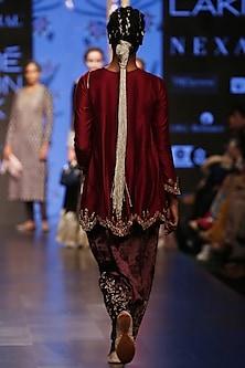 Cranberry & Purple Embroidered Kurta Set by Payal Singhal