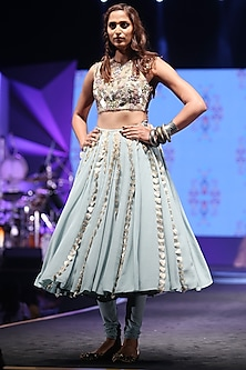 Periwinkle Blue Blouse With Churidar Skirt by Payal Singhal