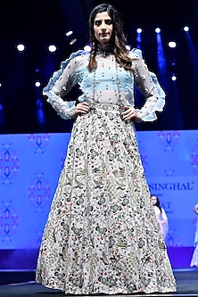 Periwinkle Blue Embroidered Top With Bustier & Stone Lehenga Skirt by Payal Singhal
