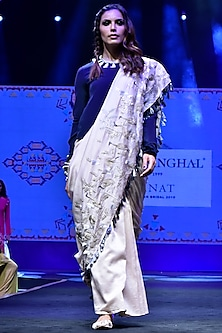 Navy Blue & Stone Embroidered Saree Set by Payal Singhal