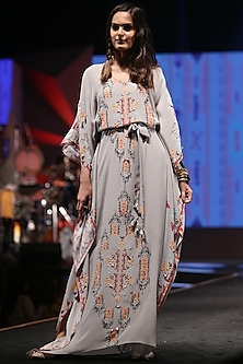 Grey Embroidered & Printed Kaftan With Belt by Payal Singhal