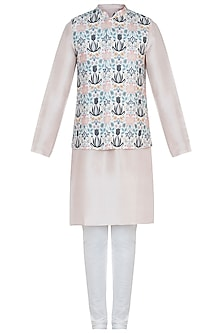 Cream printed bandi jacket with kurta and churidar pants
