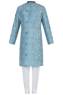 Blue printed kurta with off white churidar pants