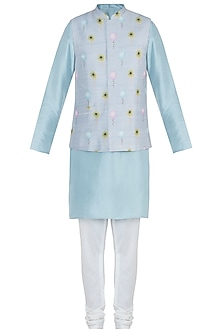 Grey printed bandi jacket with kurta and churidar pants