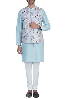 Grey printed bandi jacket by Payal Singhal Men