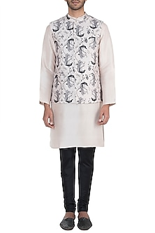 Blush printed bandi jacket by Payal Singhal Men