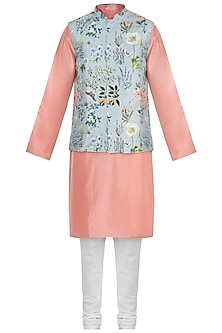 Aqua printed bandi jacket with kurta and churidar pants