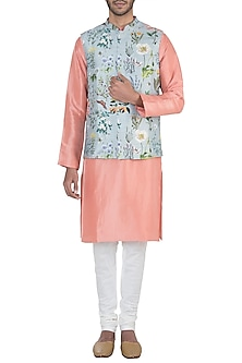 Aqua printed bandi jacket with kurta and churidar pants by Payal Singhal Men