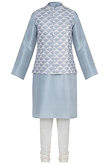 Lavender printed bandi jacket with kurta and churidar pants