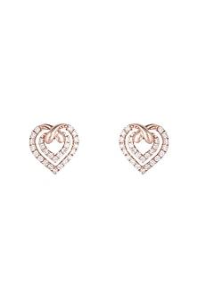 18kt Rose gold diamond infinity heart stud earrings by Qira Fine Jewellery