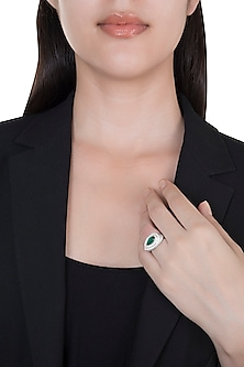 18kt White gold pear emerald and diamond ring