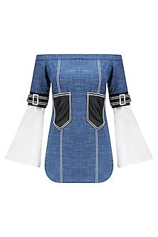 Blue and Black Leather Pocket off Shoulder Top