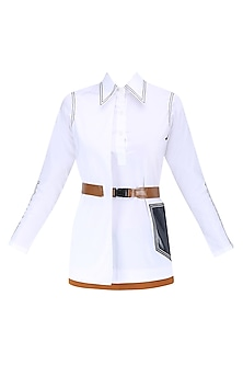 White Overlap Panel Button Down Shirt by QUO