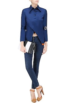 Navy Blue Overlap Panel Shirt by QUO