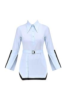 Light Blue Sequins Work Cotton Shirt
