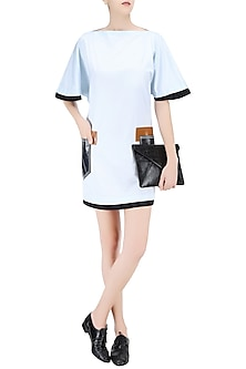 Light Blue Leatherite Pockets Flared Sleeves Dress by QUO
