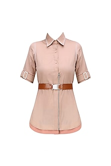 Rose Sand and Tan Brown Leatherite Buckle Shirt by QUO
