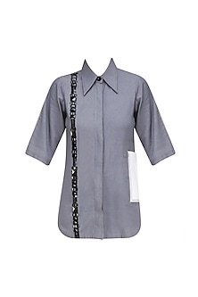 Grey Stones Embroidered Linen Shirt by QUO