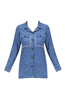 Blue Anchor Stitched Button Down Shirt by QUO