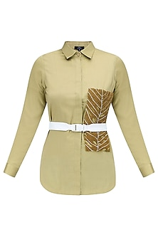 Olive Grey Embroidered Poplin Shirt by QUO
