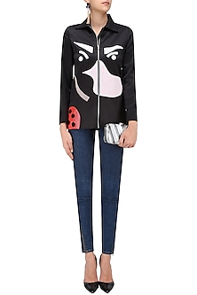 Black Hand Appliqued Jacket by QUO