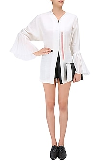 White Kimono Sleeves V Neck Shirt by QUO